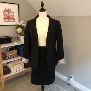 Banana Republic Black Italian Wool Skirt Suit